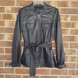 Rachel Zoe NWOT Leather Hip-Length Belted Jacket